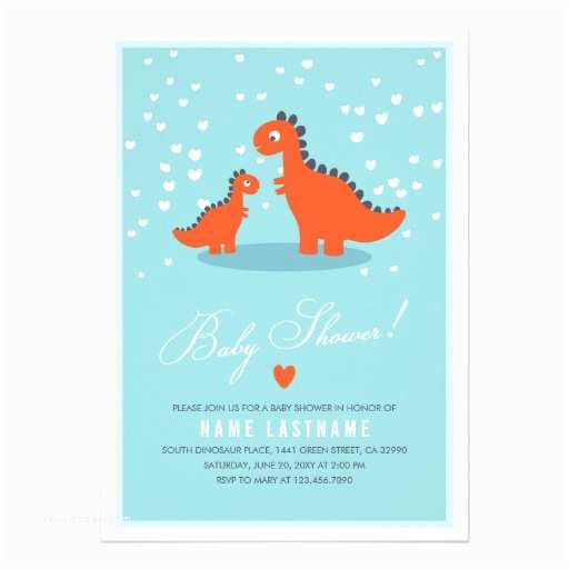 "Modern Baby Shower Invitations Modern Blue Orange Dinosaur Baby Shower Invitation 5"" X"