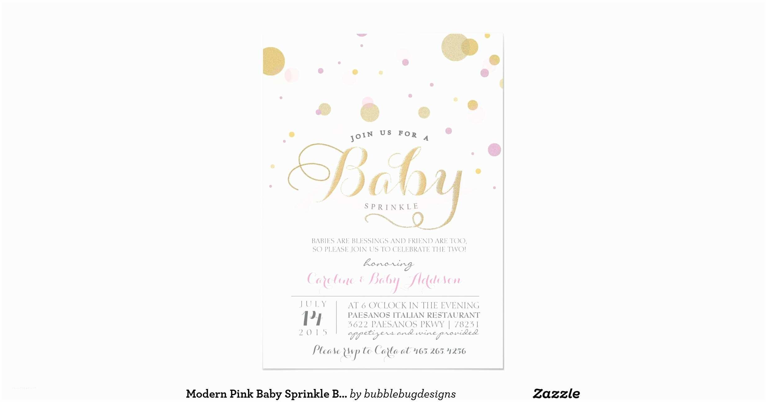 Modern Baby Shower Invitations Modern Pink Baby Sprinkle Baby Shower Invitation