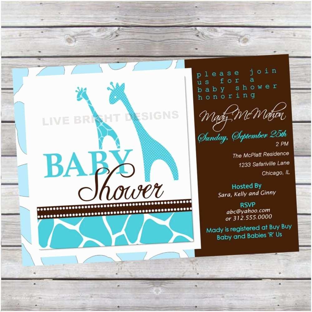 Modern Baby Shower Invitations Modern Wild Safari Boy Baby Shower Invitation Giraffe
