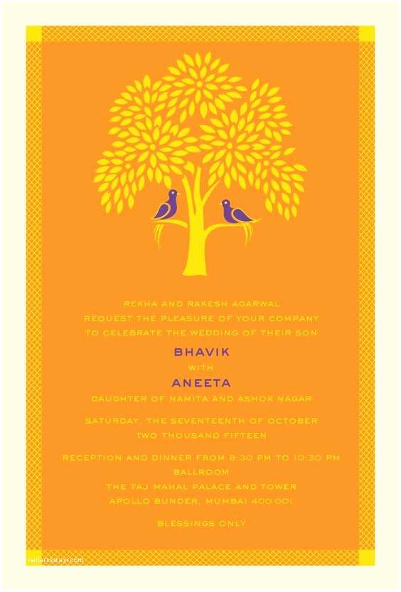 Modern Indian Wedding Invitations Tree Of Life A Modern Indian Wedding Invitation Card