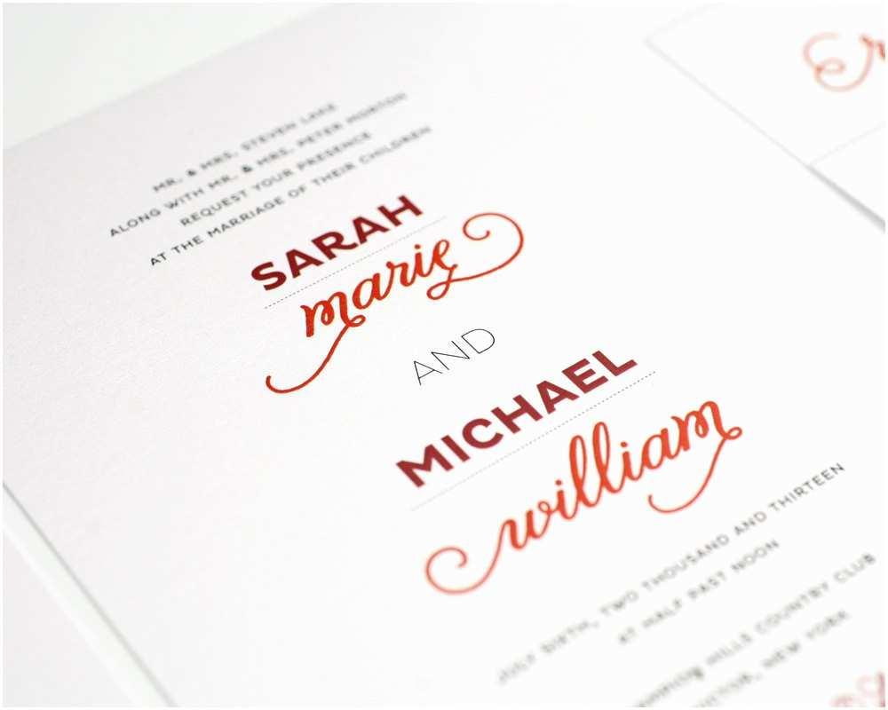 Modern Wedding Invitation Wording Modern Wedding Invitation Red White Urban Chic by