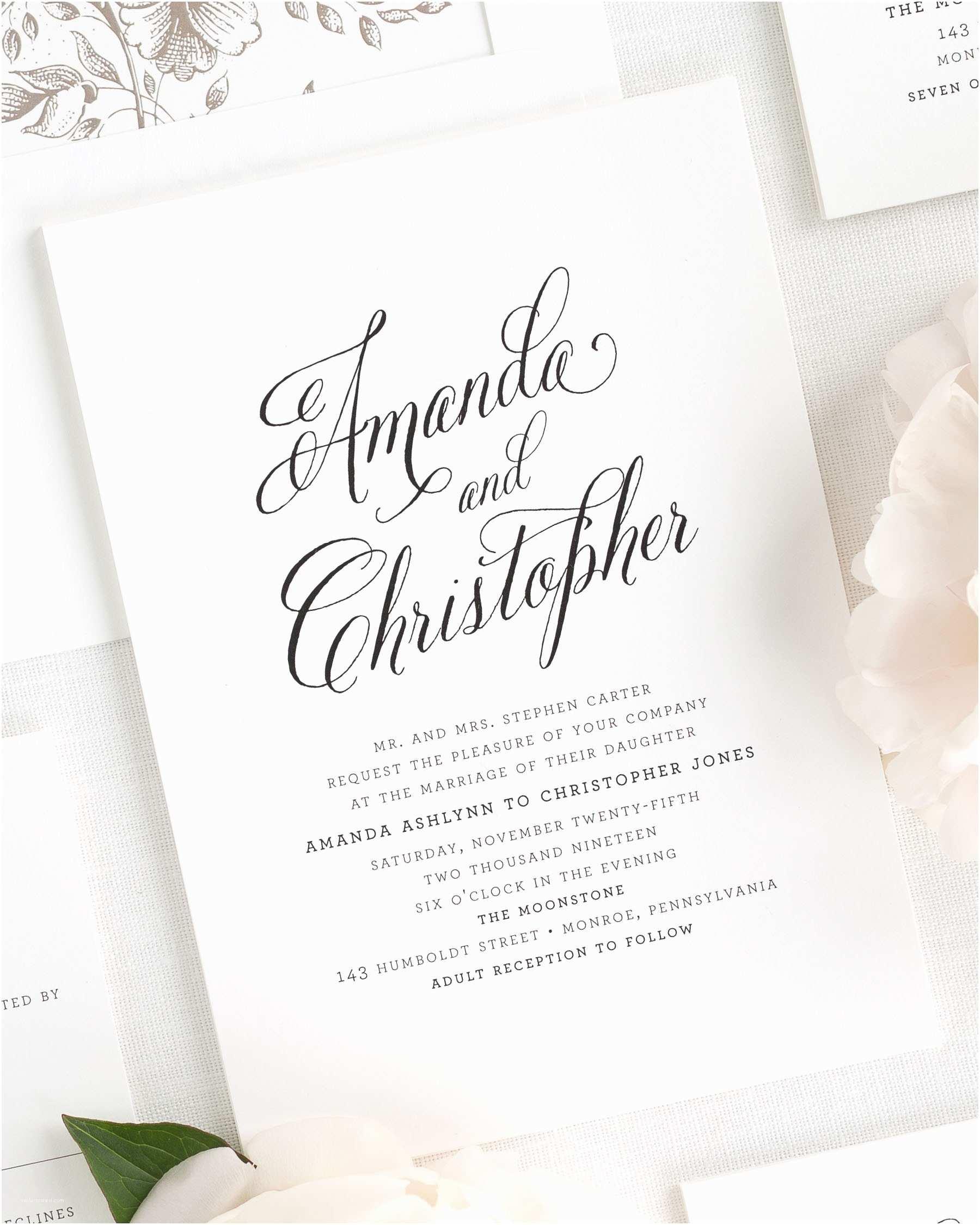 Modern Wedding Invitation Wording Modern Wedding Invitations Yaseen for
