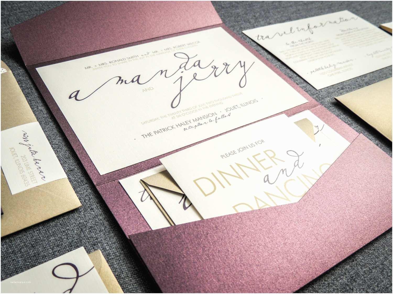 modern wedding invitations metallic