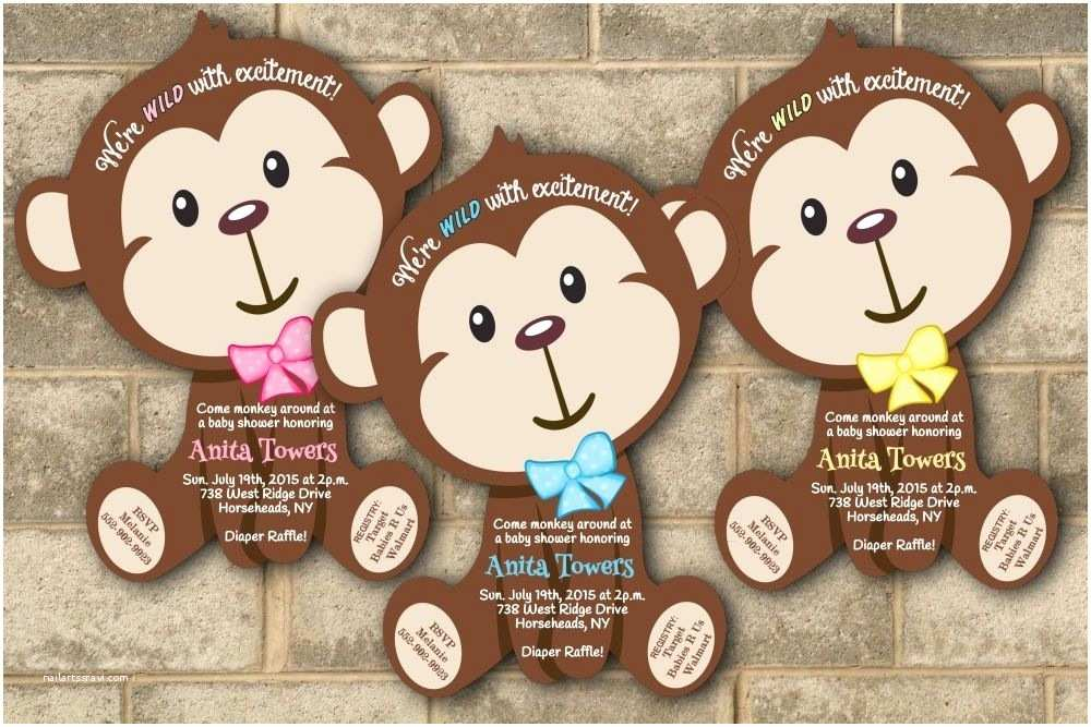 Monkey Baby Shower Invitations 30 Jungle Monkey Safari Baby Shower Invitations Boy Girl