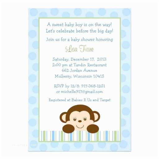 "Monkey Baby Shower Invitations Baby Monkey Baby Shower Invitations 5"" X 7"" Invitation"