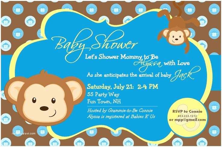 Monkey Baby Shower Invitations Baby Shower Invitation Monkey Printable Monkey Baby