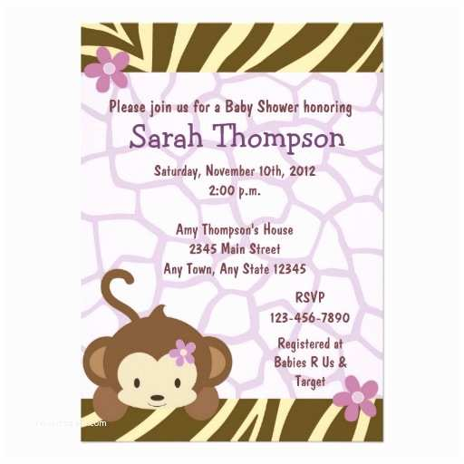 Monkey Baby Shower Invitations Cocalo Jacana Monkey Baby Shower Invitations