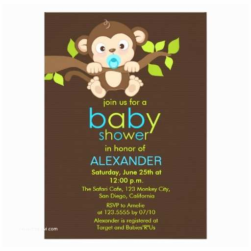 Monkey Baby Shower Invitations Cute Little Monkey Boy Baby Shower Invitation