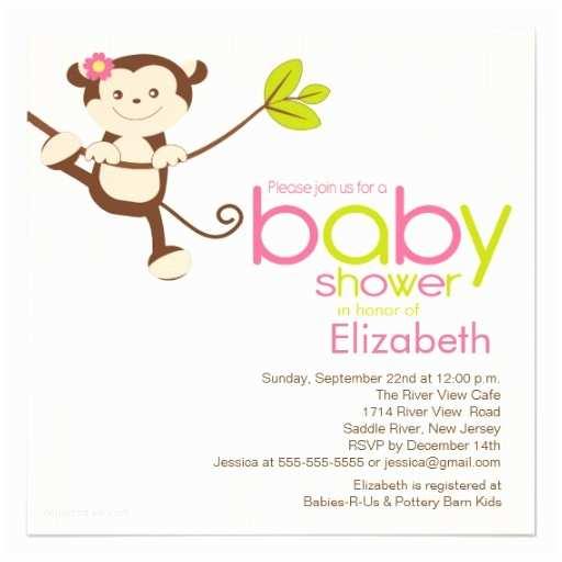 """Monkey Baby Shower Invitations Cute Monkey Girl Baby Shower Invitation 5 25"""" Square"""
