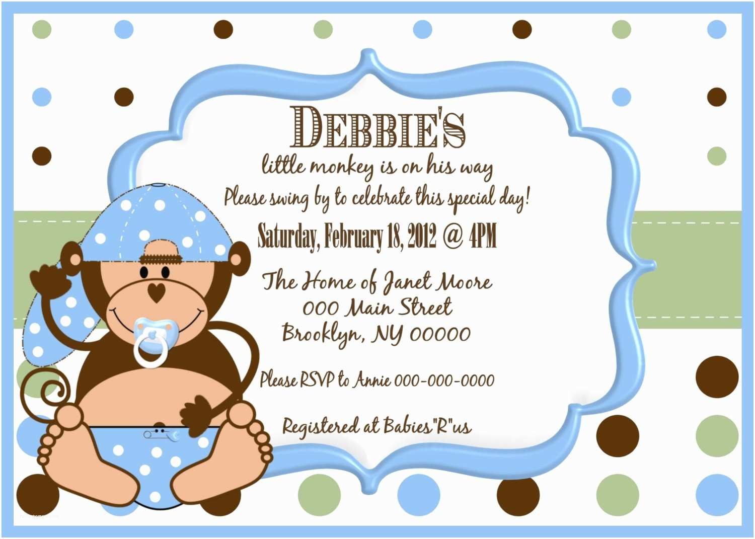 Monkey Baby Shower Invitations Little Monkey Boy Baby Shower Invitation