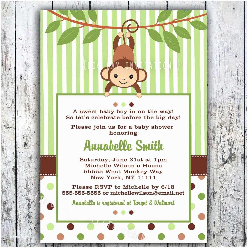 Monkey Baby Shower Invitations Mod Monkey Baby Shower Invitation Printable Boy Girl