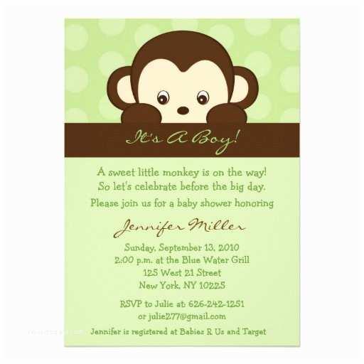 """Monkey Baby Shower Invitations Mod Pop Monkey Custom Baby Shower Invitations 5"""" X 7"""