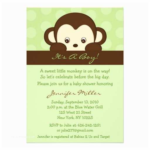 Monkey Baby Shower Invitations Mod Pop Monkey Custom Baby Shower Invitations