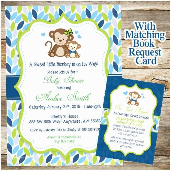 Monkey Baby Shower Invitations Monkey Baby Shower Invitation Baby Shower Invitation Baby