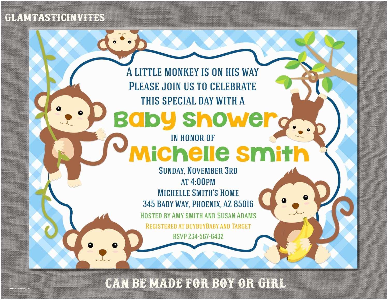 Monkey Baby Shower Invitations Monkey Baby Shower Invitation Boy Baby Shower Invitation