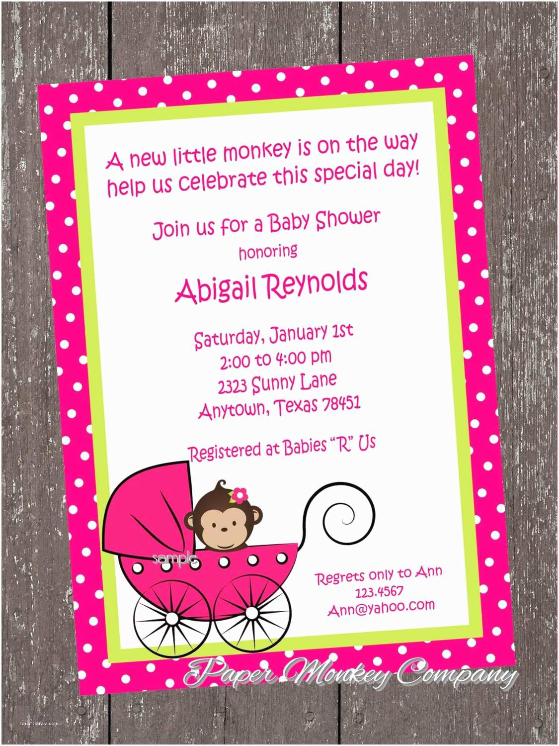 Monkey Baby Shower Invitations Monkey Baby Shower Invitation by Pmcinvitations On Etsy