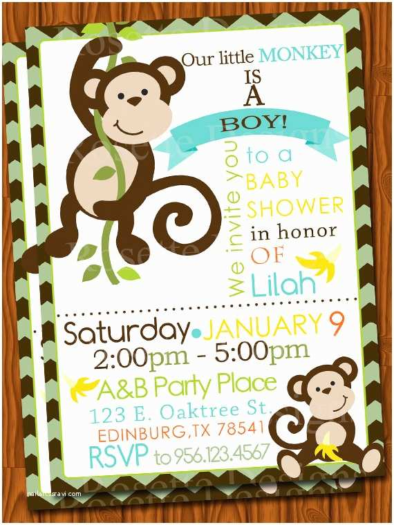 Monkey Baby Shower Invitations Monkey Baby Shower Invitation Chevron by Pixeldoodlestudio