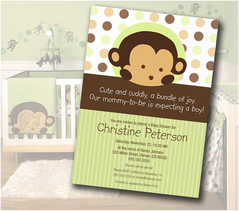 Monkey Baby Shower Invitations Monkey Baby Shower Invitation Matches Mod Pod Pop Monkey