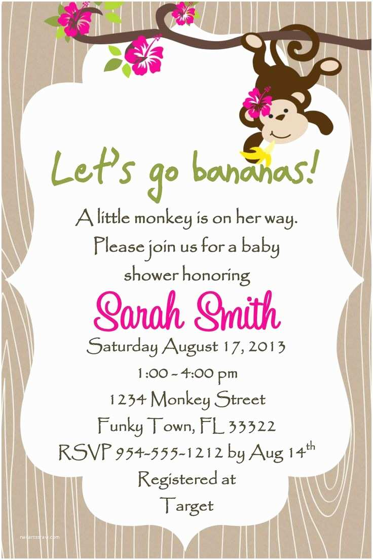 Monkey Baby Shower Invitations Monkey Baby Shower Invitation Template Girl or Boy