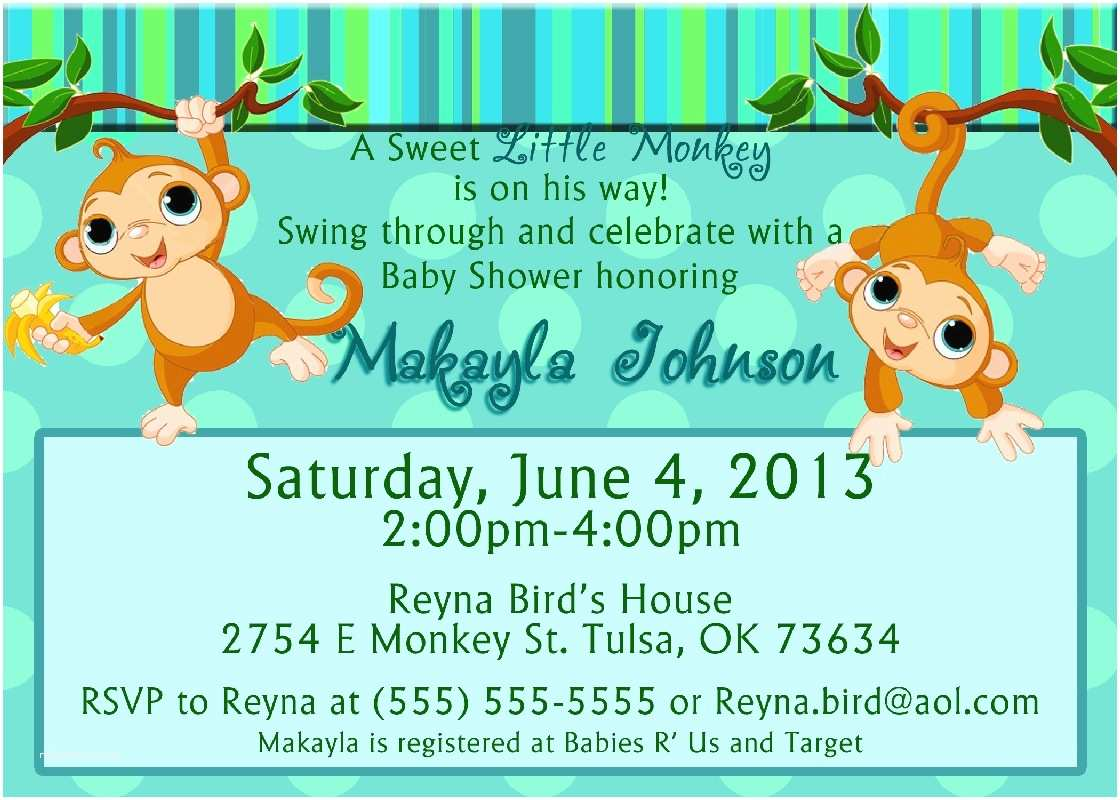 Monkey Baby Shower Invitations Monkey Baby Shower Invitations Baby Shower Decoration Ideas