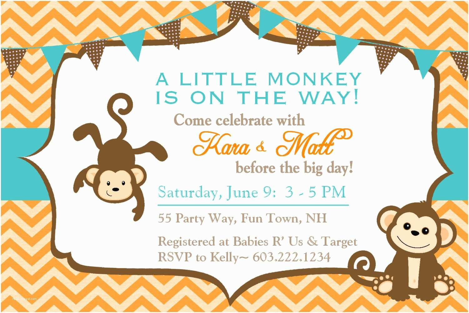 Monkey Baby Shower Invitations Monkey Baby Shower Invitations Chevron Teal orange Brown