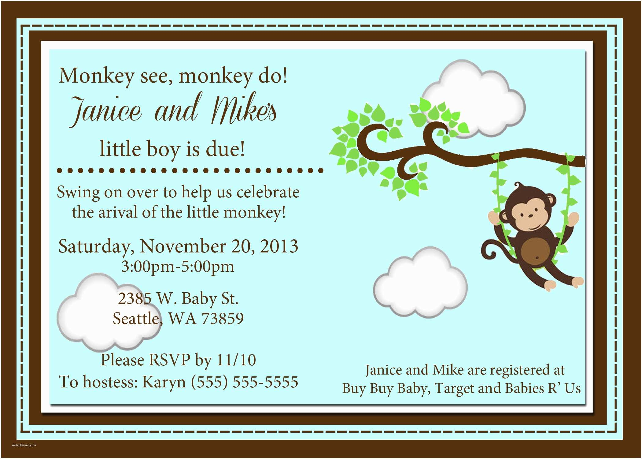 Monkey Baby Shower Invitations Monkey Baby Shower Invitations