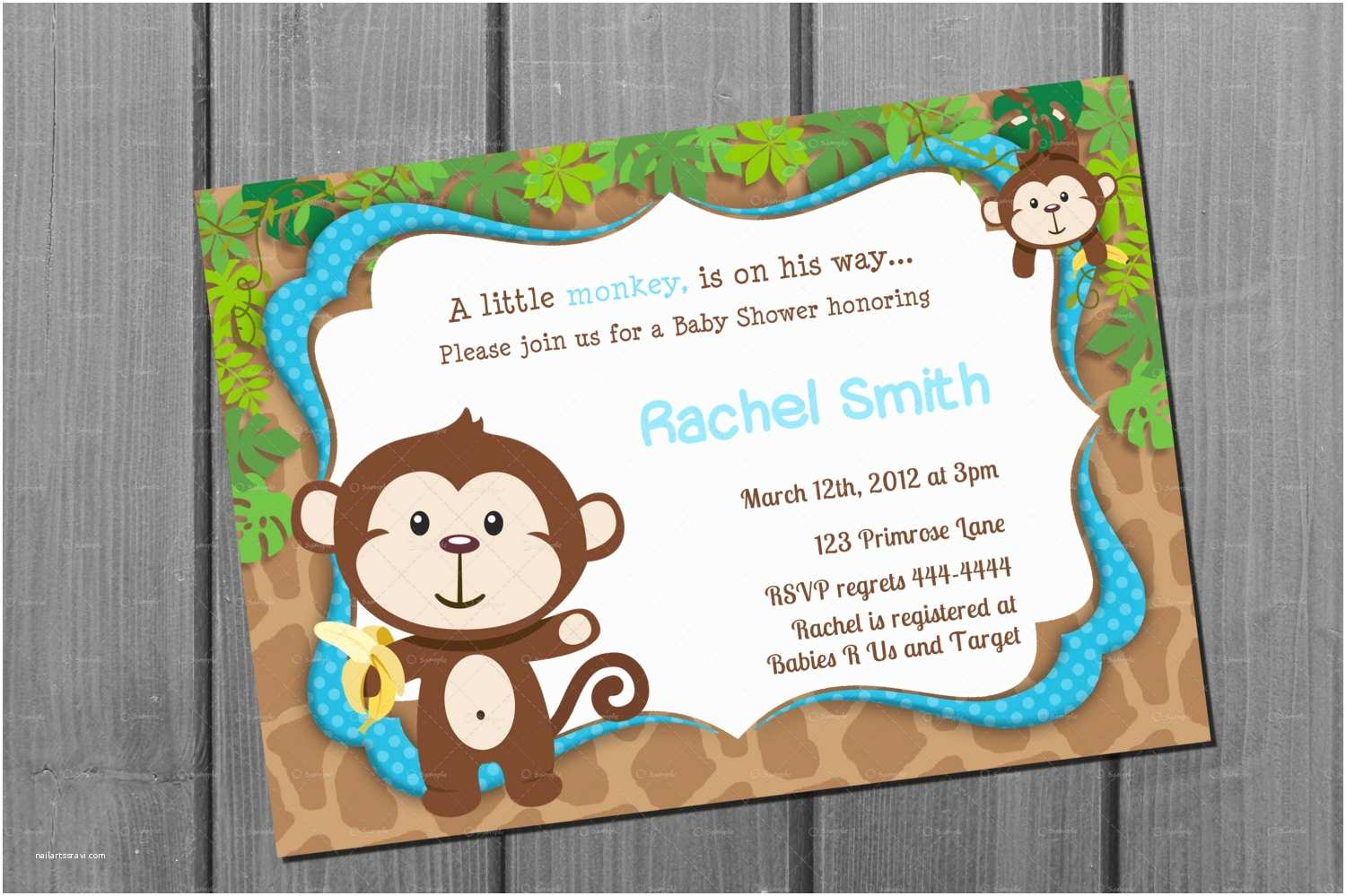 Monkey Baby Shower Invitations Monkey Blue Boy Baby Shower Invitation Free Thank You Card