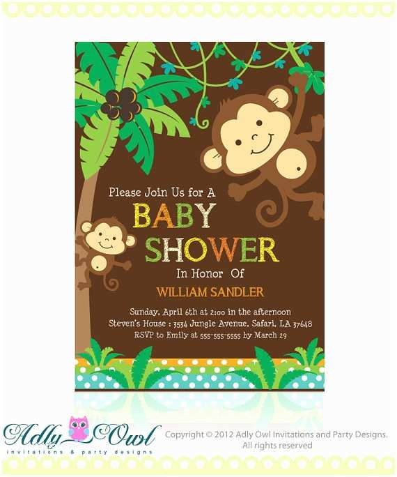 Monkey Baby Shower Invitations Personalized Brown Jungle Monkeys Baby by Adlyowlinvitations