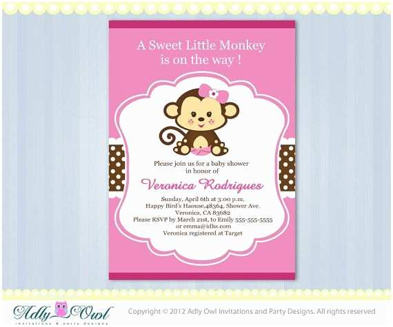 Monkey Baby Shower Invitations Pink Lime Green Girl Monkey Jungle Monkeys Baby Shower