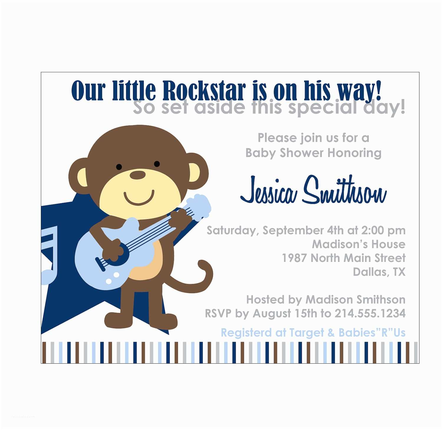 Monkey Baby Shower Invitations Rockstar Monkey Baby Shower Invitation or Birthday Invitation