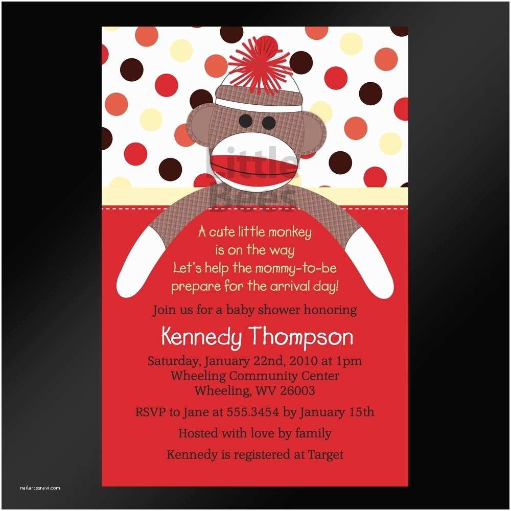 Monkey Baby Shower Invitations sock Monkey Baby Shower Invitations Template Resume Builder