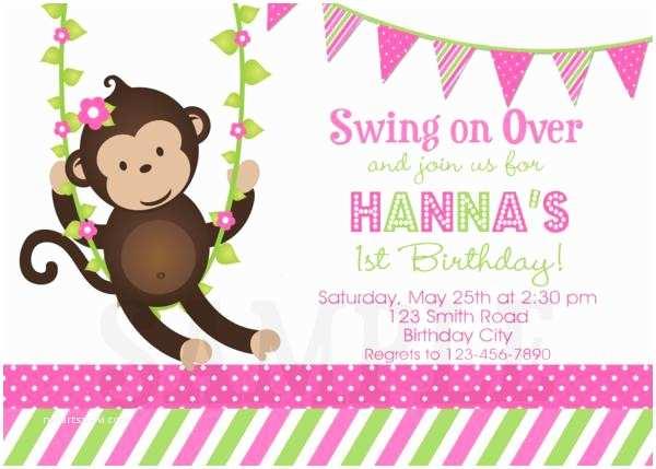 Monkey Birthday Invitations Birthday Invitations Monkey 1st Party Invites Pink and