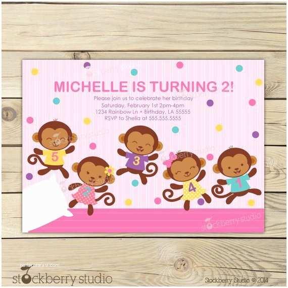 Monkey Birthday Invitations Items Similar to Girl Monkey Birthday Invitation Pink