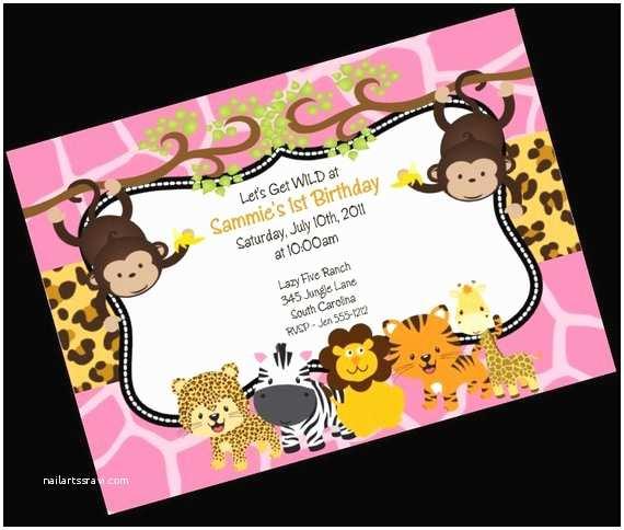 Monkey Birthday Invitations Jungle Safari Birthday Invitation Printable Party Invite