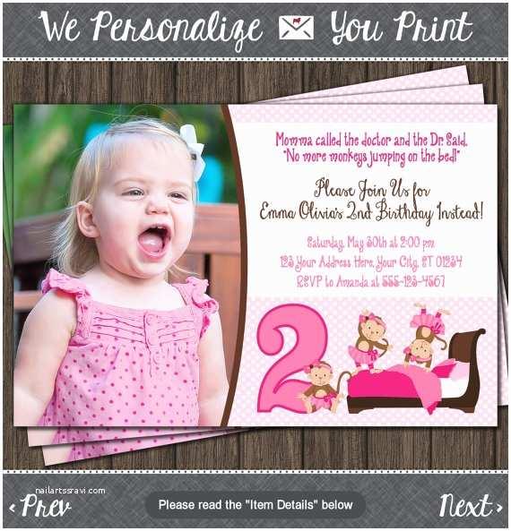 Monkey Birthday Invitations Monkey Birthday Invitation 3 Little Monkeys Jumping On