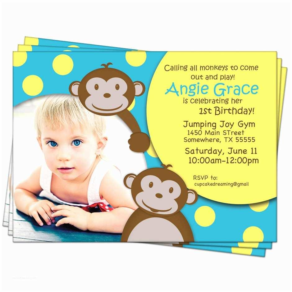 Monkey Birthday Invitations Monkey Birthday Invitations Jungle 1st First Kids by