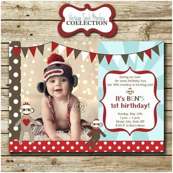 Monkey Birthday Invitations sock Monkey Birthday Party Invitation by