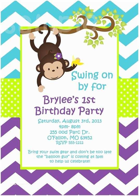 Turquoise Purple Chevron Monkey Birthday Party Invitations Animal Invitations Printable or Printed p 2497