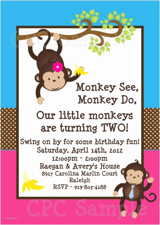 Monkey Birthday Invitations Twins Monkey Birthday Invitations Printable Party Invite
