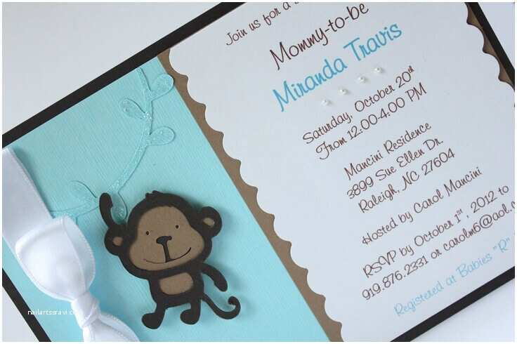 cute monkey themed baby shower invitations card
