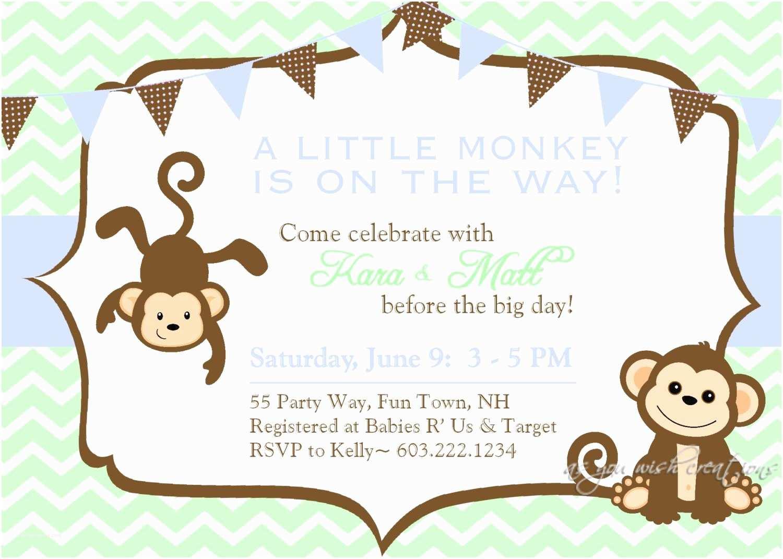 Monkey themed Baby Shower Invitations Monkey Baby Shower Invitation Boy Invitation Monkey Shower