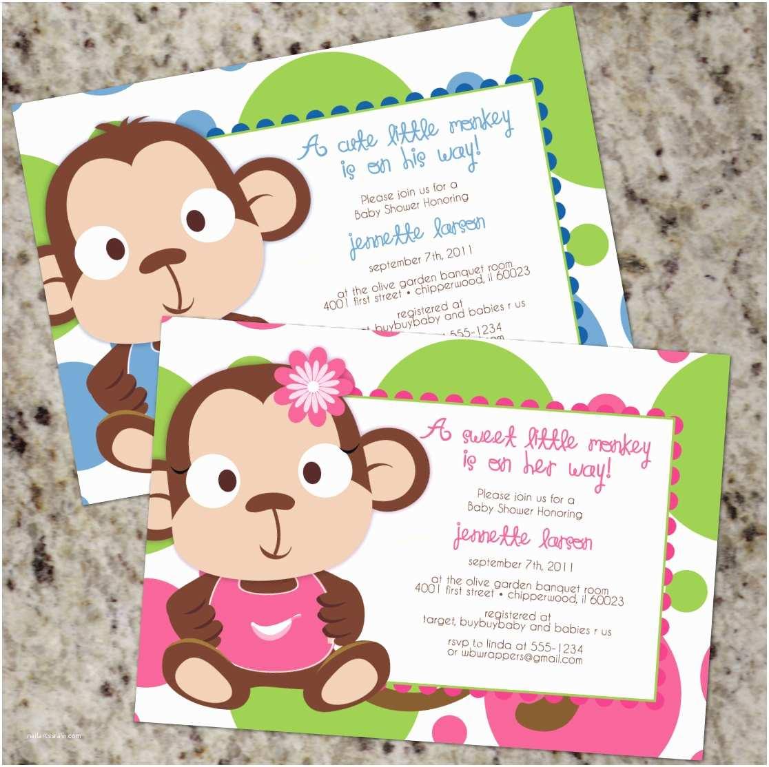 Monkey themed Baby Shower Invitations Monkey Baby Shower Invites