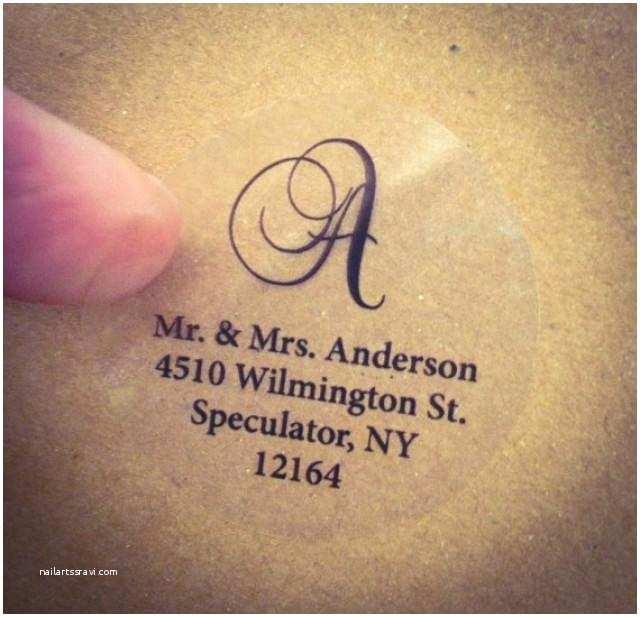 Monogram Seals for Wedding Invitations Clear Script Monogram Address Labels for Wedding