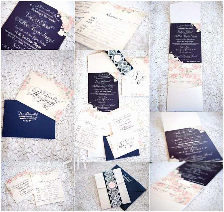 Monogram Seals for Wedding Invitations Navy Blue and Pink Wedding Invitations with Pink Peonies