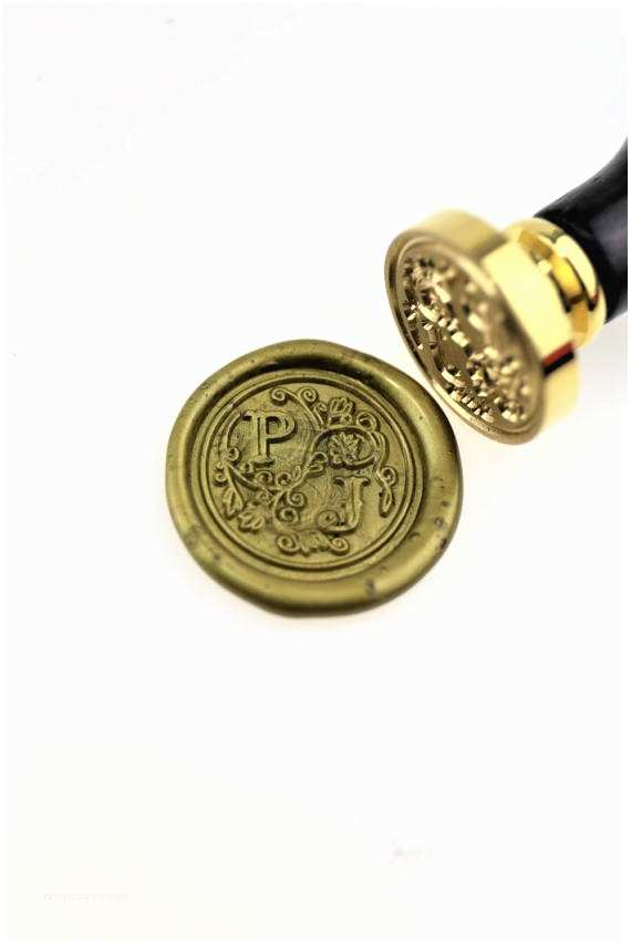 Monogram Seals for Wedding Invitations Personalized Initials with Flower Wax Seal Stamp Custom