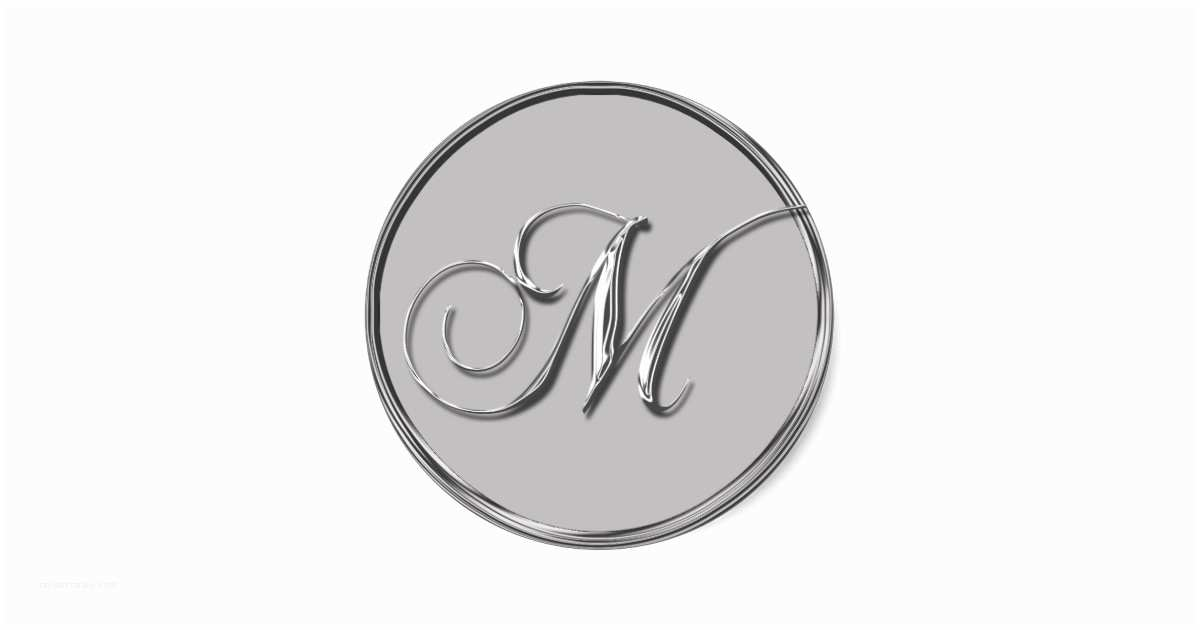 Monogram Seals for Wedding Invitations Silver formal Wedding Monogram M Invitation Seal