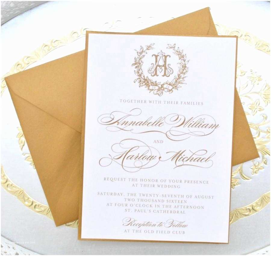 Monogram Wedding Invitations Gold Wedding Invitation Monogram Invitation Elegant