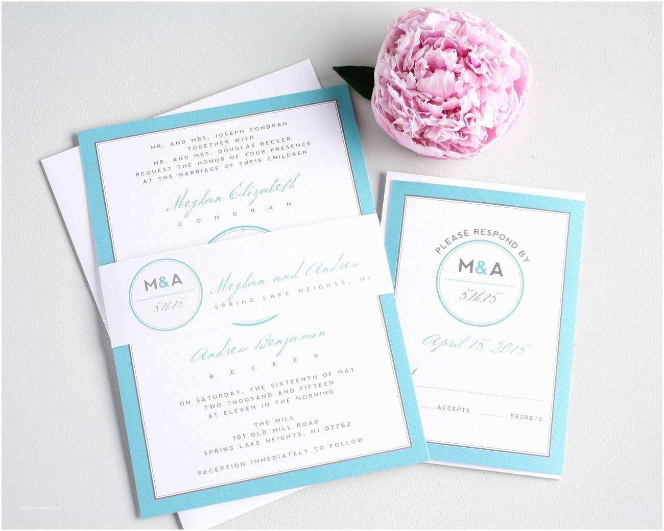 Monogram Wedding Invitations Modern Blue Wedding Invites with A Circle Monogram