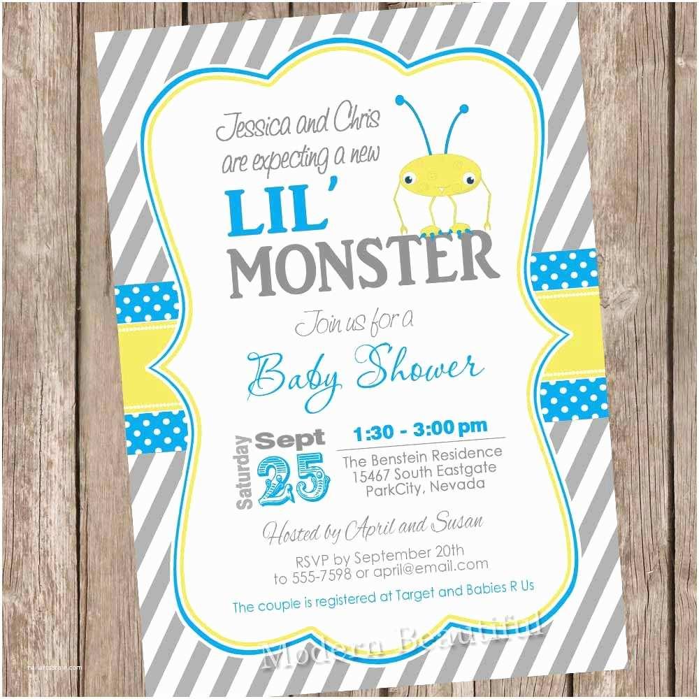 Monster Baby Shower Invitations Boy Monster Baby Shower Invitation Monster Baby Shower