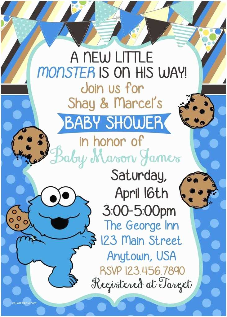 Monster Baby Shower Invitations Cookie Monster Baby Shower Invitation